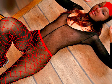 black and red pantyhose encasement